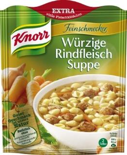 Knorr Feinschmecker Würzige Rindfleischsuppe, 14 x 2 Teller (14 x 500 ml) - 1