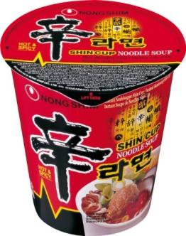 Nong Shim Instant-Cup-Nudeln, scharf (Shin Ramen), 6er Pack (6 x 75 g) - 1